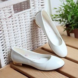 New Fashion Patent Leather Flats Shoes White