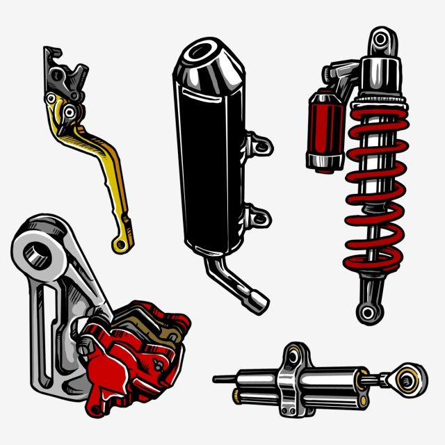 A Set Of Motorcycle Parts Set Motorcycle Part Png Transparent