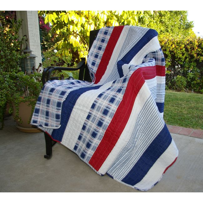 Greenland Home Fashions Nautical Stripes Quilted Throw - Overstock Shopping - Great Deals on Throws