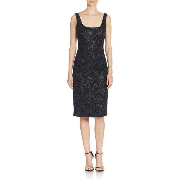 David Meister Sequin Embellished Sleeveless Sheath Dress ($220) ❤ liked on Polyvore featuring dresses, black, david meister cocktail dress, sheath dress, sequin cocktail dresses, square neckline dress and metallic cocktail dress