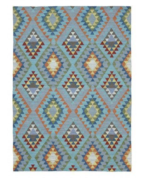 Aswan Blue Tribal Geometric Wool Kilim Rug