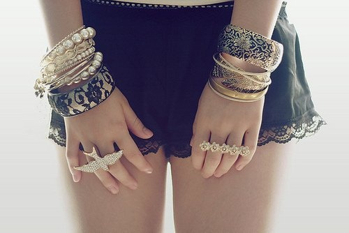 Jewelery: Arm Candy, Style, Stacking Bracelets, Rings, Jewelry, Bangles, Accessories, Lace Shorts, Arm Parties