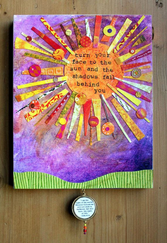 Handmade Inspirational Art. Sun. Mixed Media. Faith by lucyingels, $75.00