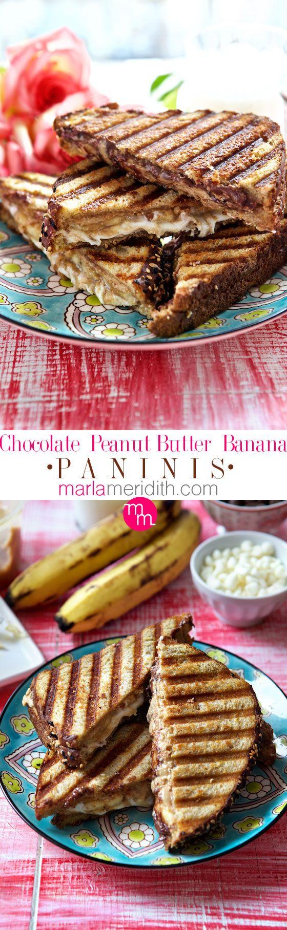 Chocolate Peanut Butter Banana Paninis | #recipe on MarlaMeridith.com ( @marlameridith )
