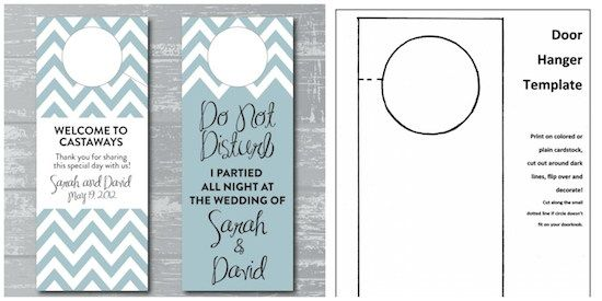 diy wedding, diy door hangers, wedding crafts, budget wedding, wedding welcome bags