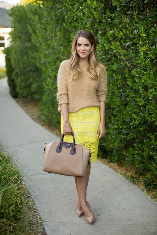 Love this bright and sunny skirt with lace! Perfect transitioning with a neutral sweater :) #stitchfix