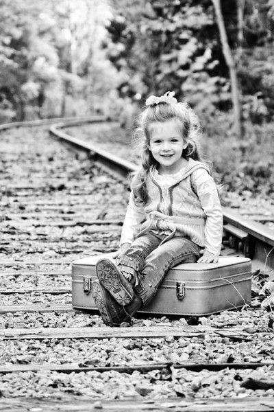 Train tracks pose inspiration - like the suitcase