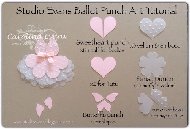 Ballet Punch Art Card - Creative Challenge using Sweetheart & Pansy punches - Stampin' Up! Products 2015 Carolina Evans #stampinup #punchitup