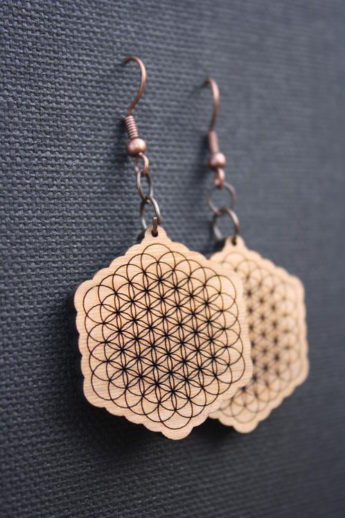 Flower of life cedar earrings - $30