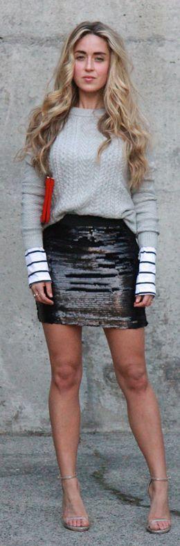 Bright Black Sequin Mini Skirt by A Fashion Love Affair