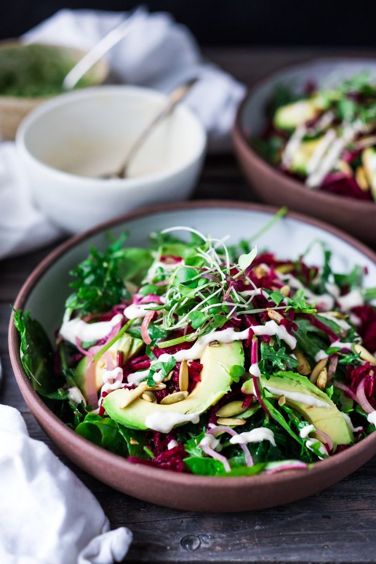 beet and avocado salad with cashew tahini dressing