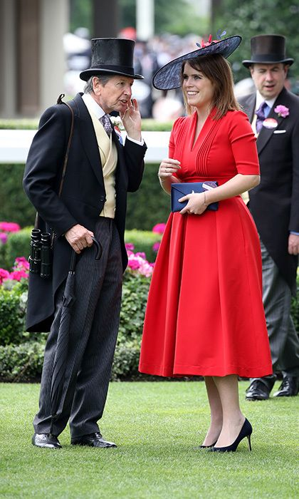 Princess Eugenie conversed with John Warren at the exclusive racing event, held in Ascot, England.