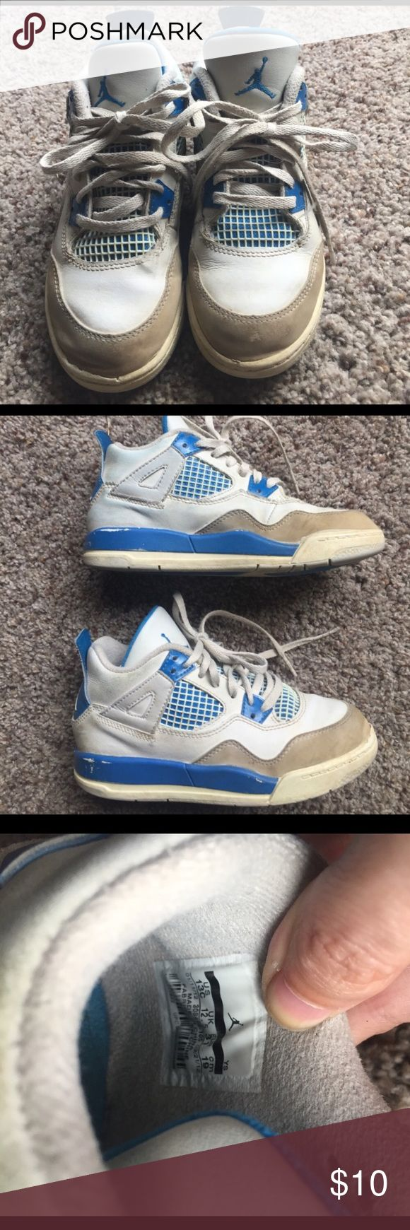 Boys blue and white Jordan's Blue and white boy's Jordan's size youth 13C. Good condition with minor wear and some blue jean transfer. Jordan Shoes Sneakers