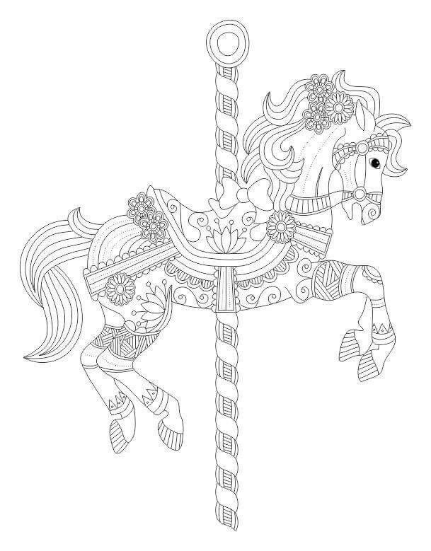 Relax With Art Carousel Horse Colouring For Adults
