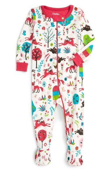 Hatley 'Mystical Forest' Fitted One-Piece Pajamas (Baby Girls) available at #Nordstrom