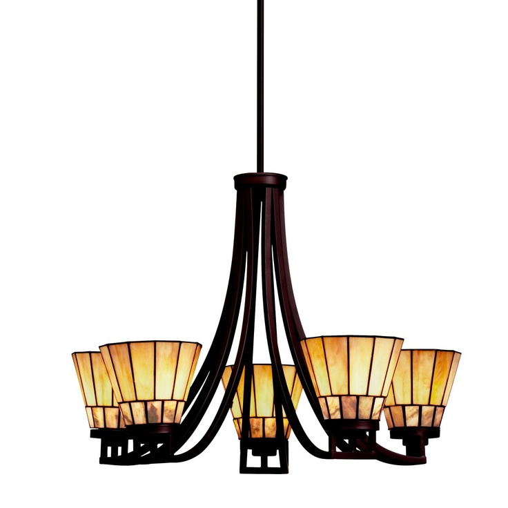 Kichler Lighting Craftsman Tiffany Chandelier With Art Glass In Bronze Finish