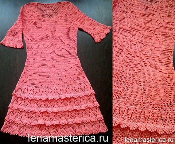 Розовое филейное платье для девочки. Схема