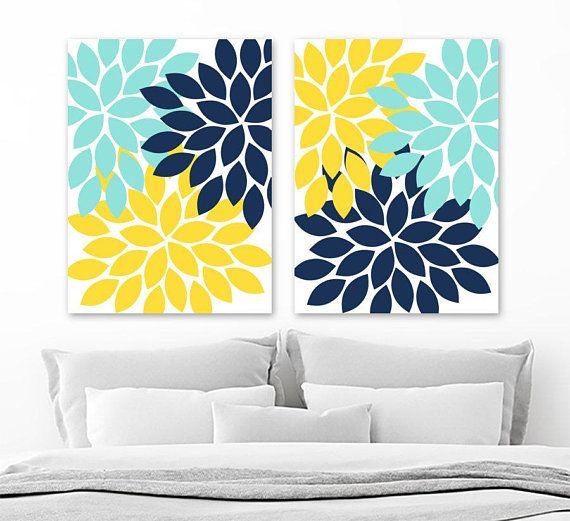 Flower Wall Art Navy Blue Aqua Yellow Flower Bedroom Wall Decor Flower Canvas Or Prints Yellow Blue A Flower Bedroom Purple Bathroom Decor Yellow Wall Decor