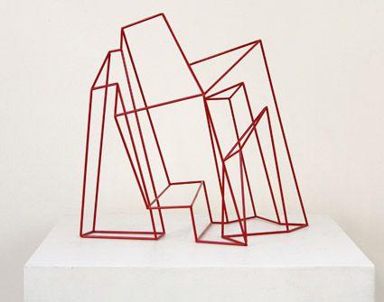 © Morgan Shimeld ~ Tilt Aspect ~ 2011 stainless steel, powder coated at Tim Olsen Gallery Sydney Australia