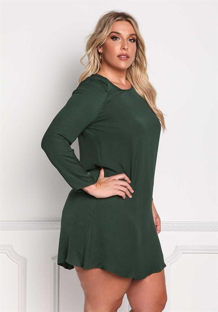 Plus Size Clothing | Plus Size Ruffle Keyhole Cut Out Shift