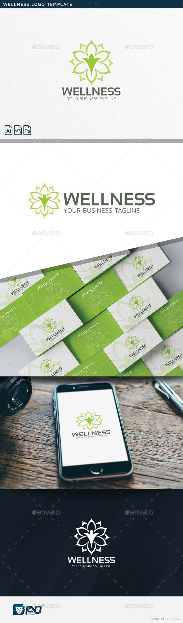 Wellness Logo Template PSD, Vector EPS, AI. Download here: http://graphicriver.net/item/wellness/14087077?ref=ksioks