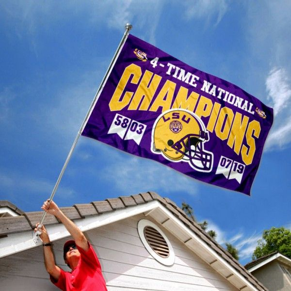 College Flags /& Banners Co Louisiana State LSU Tigers 4 Time Football National Champions Double Sided Flag