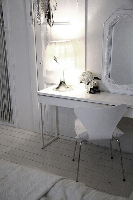 Ikea White Besta Burs Desk In High Gloss White Finish