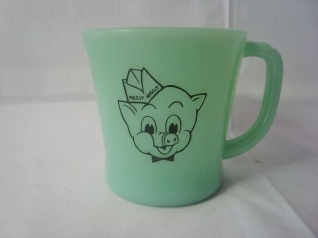 RARE Fire King Jadeite Piggly Wiggly Advertising Mug L K Fireking | eBay