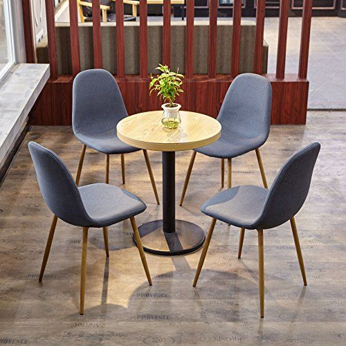 Set Of 4 Dining Room Chairs With Strong Metal Legs And Fabric Padded Seat Blue