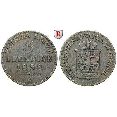 Schwarzburg, Sondershausen, Günther Friedrich Carl II., 3 Pfennig 1858, ss: Günther Friedrich Carl II. 1835-1880. Kupfer-3 Pfennig… #coins
