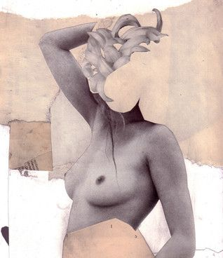 Kerstin Stephan: Flower Head, 2012 www.kidsofdada.com/products/flower-head-2012 #nude #collage #woman