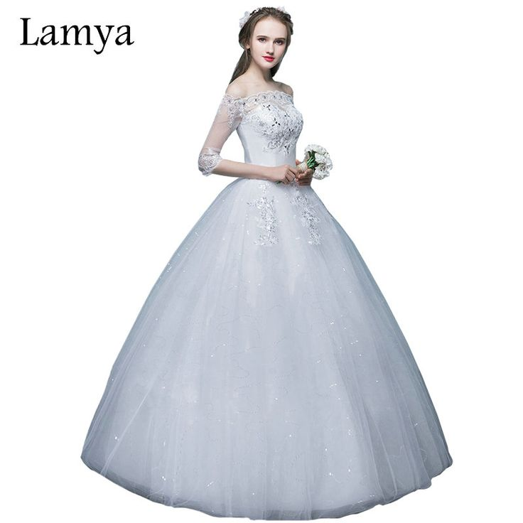 Princess Boat Neck With Long Sleeve Wedding Dresses Lamya 2017 Elegant Pearl Sexy Lace Bridal Gown For Women Vestido De Noiva #Affiliate