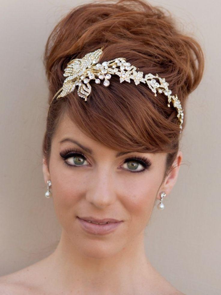 Brides wedding flower headbands for long short haircuts