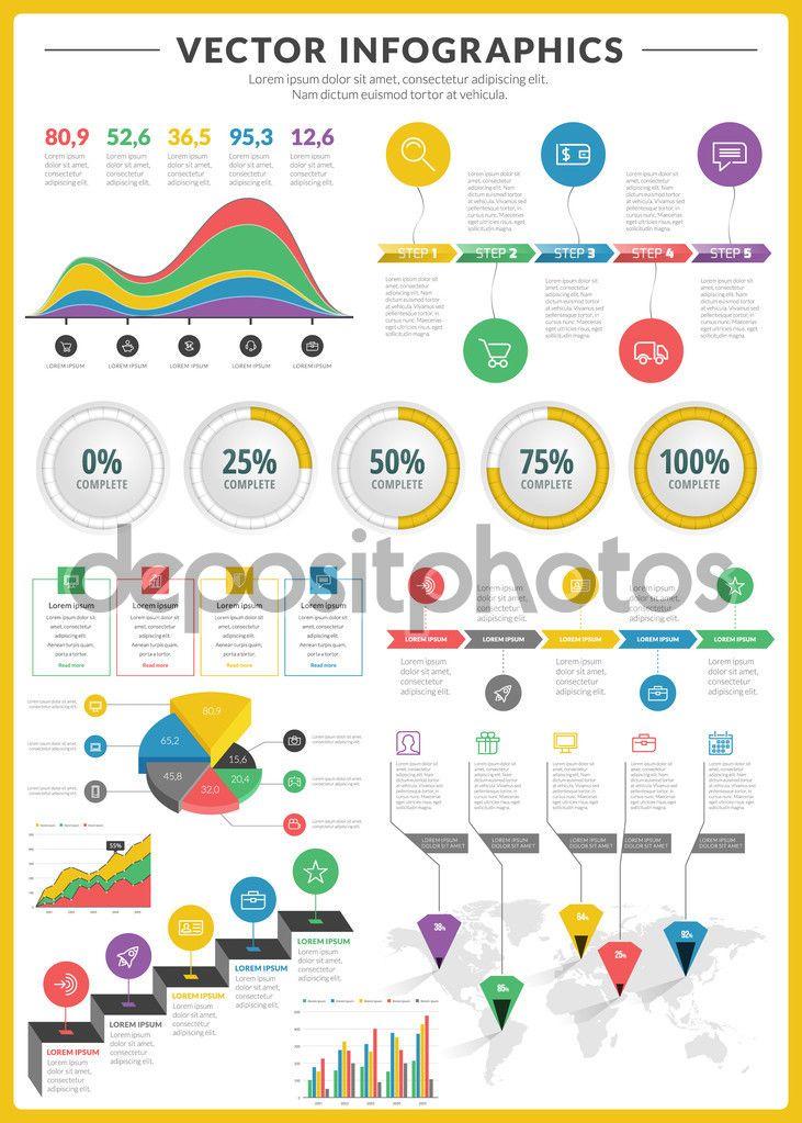 Grande pacote de visualização de dados vetoriais infográficos e elementos com bar de negócios, gráficos, gráfico, diagramas e ícone definido para brochuras, folhetos e sites de design - Ilustração de Stock: 58642515