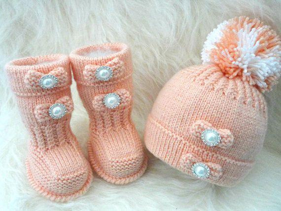 Strickende MUSTER Baby Schuhe Baby Booties Baby Hut von Solnishko43