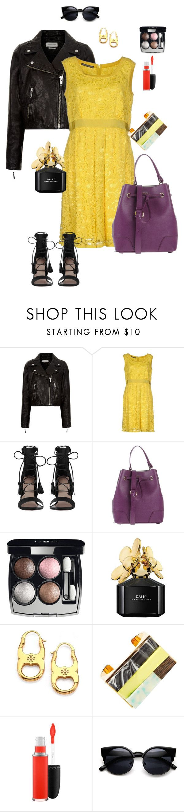 """yellow lace dress"" by ulusia-1 ❤ liked on Polyvore featuring Étoile Isabel Marant, Alberta Ferretti, Zimmermann, Furla, Chanel, Marc Jacobs, Tory Burch, STELLA McCARTNEY and MAC Cosmetics"