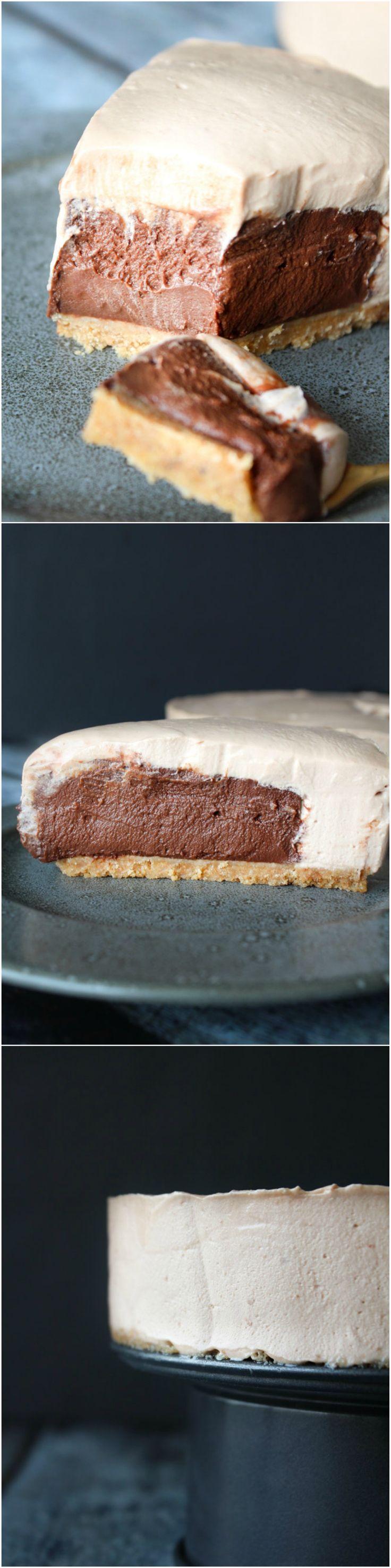 Homemade no bake chocolate cheesecake with homemade chocolate pudding - no bake dessert - chocolate recipe - dessert
