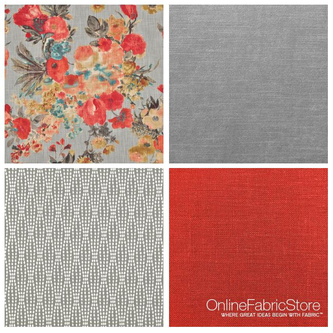 Fall colors, orange and gray decor fabric.