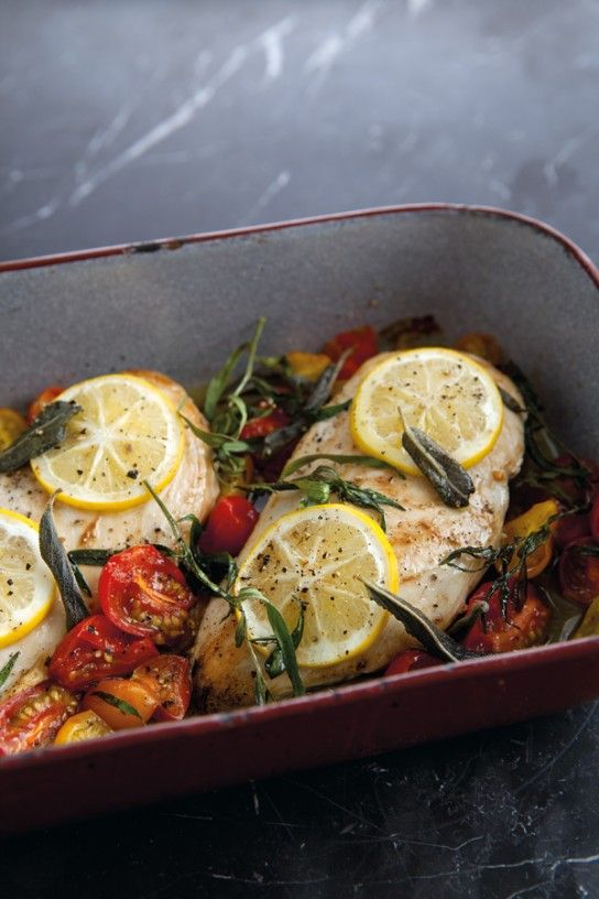 When the temperatures rise, we crave light main meals that can be assembled and cooked in 30 minutes or so. Here, tender chicken breasts are baked to bring out their peak flavor, and topped with sweet cherry tomatoes and tart lemons