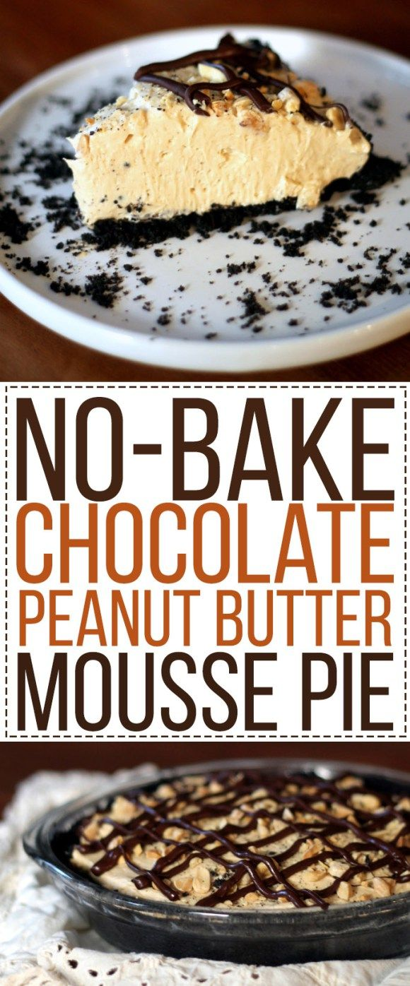 This Chocolate Peanut Butter Mousse Pie has an Oreo crust, a creamy peanut butter mousse, and a drizzle of chocolate and peanuts! No baking required for this easy recipe.