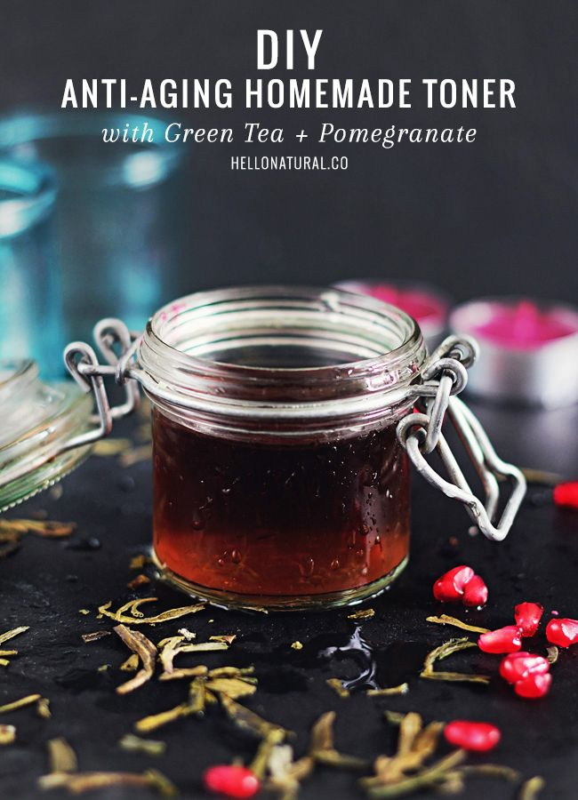 DIY: Anti-Aging Homemade Toner with Green Tea   Pomegranate | http://hellonatural.co/antiaging-homemade-toner/