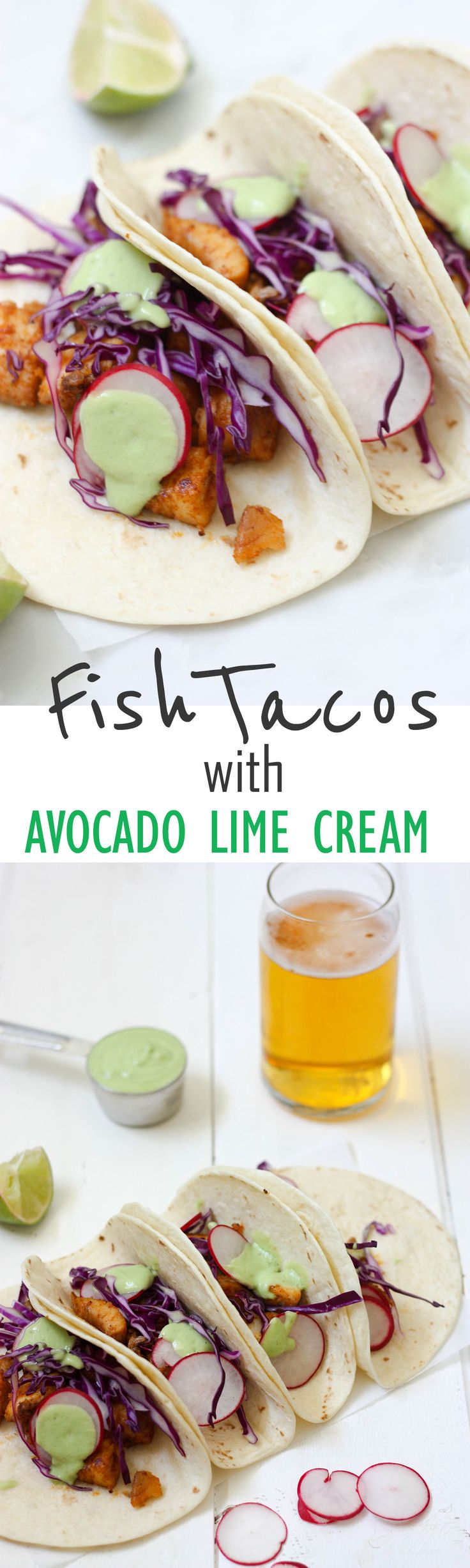 Quick, easy, delicious, perfect for summer Fish Tacos with Avocado Lime Cream www.thehomecokskitchen.com