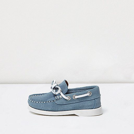 Mini boys blue suede boat shoes River Island Kids