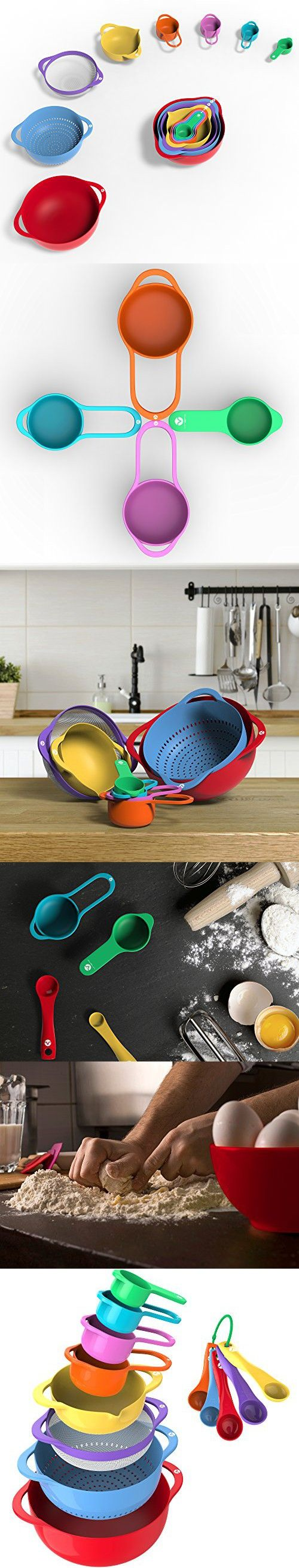 Vremi 15 Piece Mixing Bowl Set with Measuring Cups and Spoons - Large and Small Plastic Mixing Bowls with Colander and Micro Strainer - Nesting Colorful Kitchen Bowls for Baking and More