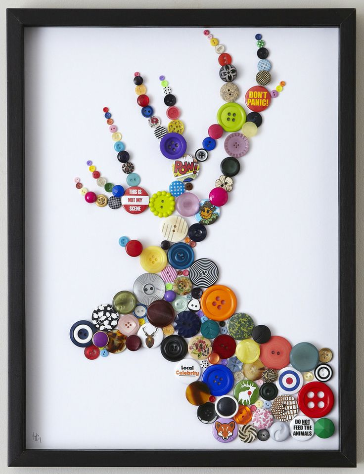 This unique impression features colourful buttons and a selection of witty badges that all represent nature and wildlife.Size: 40cm x 30cm (sold framed).The small print... Each piece is handmade and has a 4 week lead time.Due to the bespoke nature, these pieces are constantly evolving and the pictures are for guideline purposes only as each piece is unique.SALE ITEMS ARE WHILE STOCKS LAST.STAG AVAILABLE IN A BLACK FRAME WITH WHITE BACKGROUND ONLY. Please s...