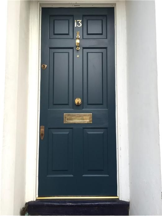Farrow & Ball - Hague Blue LOVED BY www.willowandstone.co.uk and also visit website to see similar brass door furniture!
