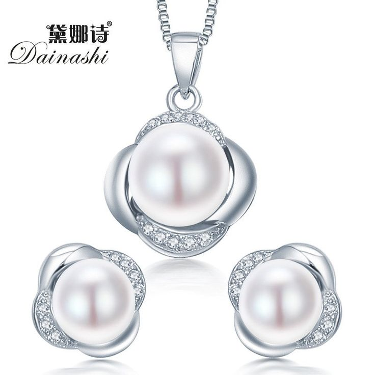 High Quality 925 Sterling Silver Jewelry Set With Natural Pearls