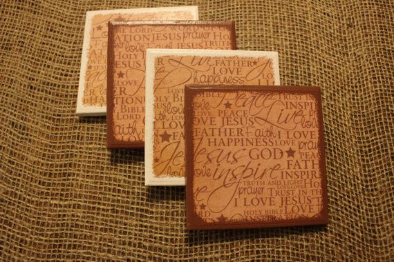 Inspirational Theme Ceramic Tile Coasters  Light by CrafTeaCafe,