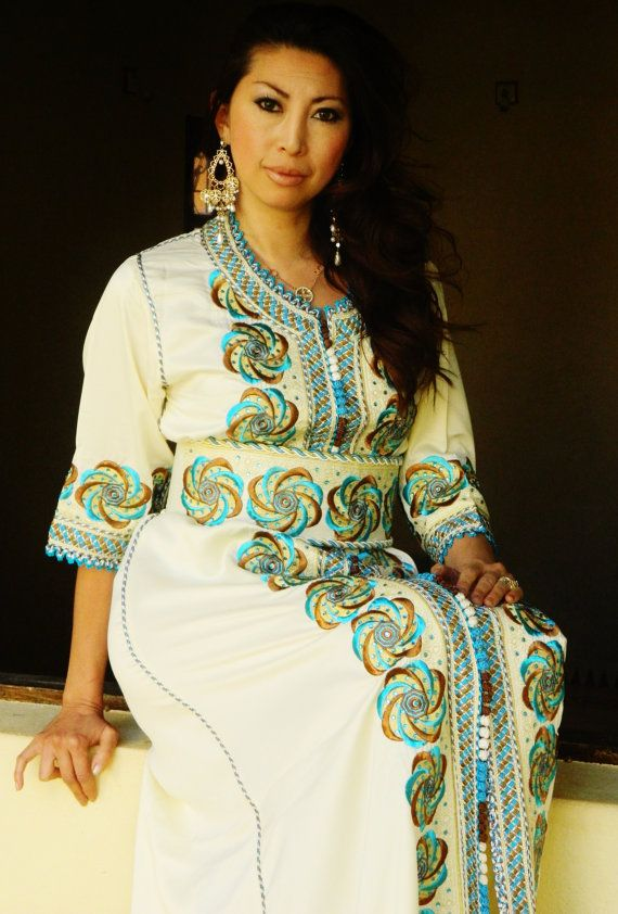 Moroccan Modern White Embroidery CaftanAmena by MaisonMarrakech, $349.99