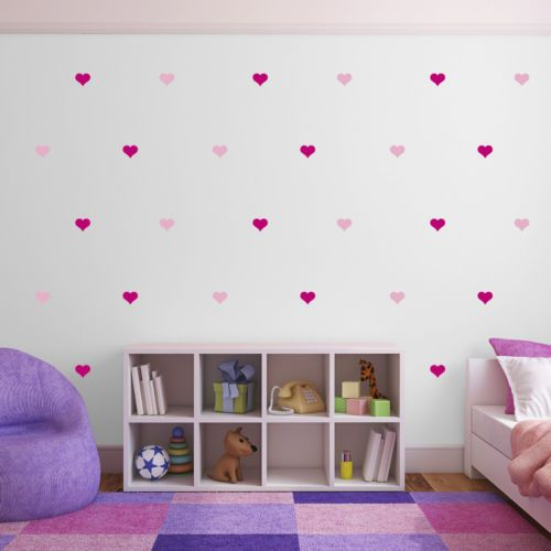 Pink-Heart-Wall-Stickers-Multi-Pack-of-100-Decals-light-dark-pink
